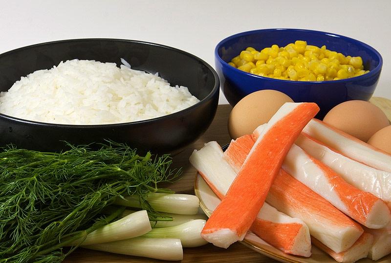 как сварить рис на крабовый салат
